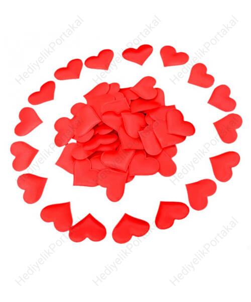 saten hobi süs malzemesi kalp elyaf kırmızı