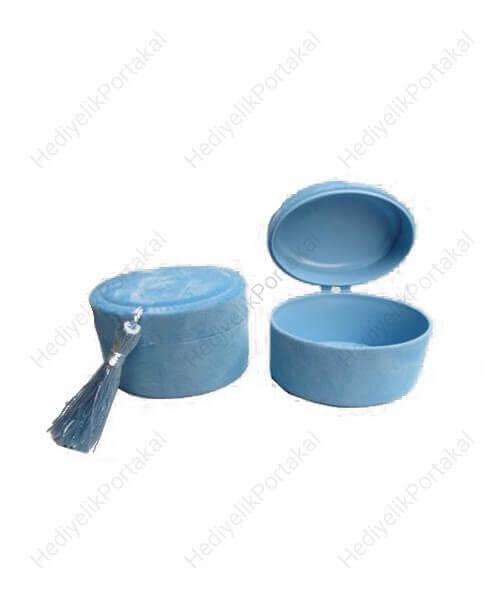 açık mavi fes kutu flok mevlid şekeri lokumluk süs malzeme