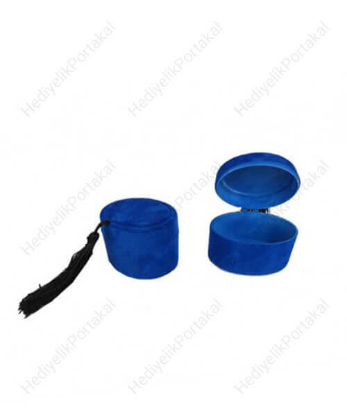 mavi fes kutu flok mevlid şekeri lokumluk süs malzeme