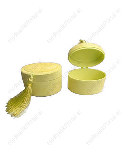 sarı fes kutu flok mevlid şekeri lokumluk süs malzeme