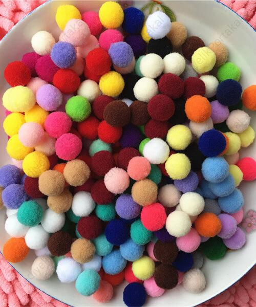 karışık renkli küçük pon pon ponpon diy hobi malzemesi